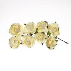 Papierowa róża do zdobieniai 8 szt - żółty jasny - ŻÓŁJAS