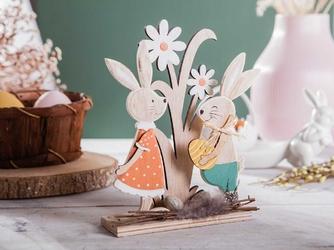 Figurka drewniana  ozdoba świąteczna na wielkanoc dwa zajączki altom design 17,5 x 21 cm