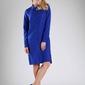 Kobaltowa koszulowa sukienka z paskiem