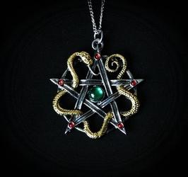 Naszyjnik bogini minerwa quot;sulis minervaquot; - pentagram z wężem