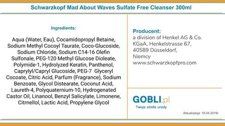 Schwarzkopf mad about waves sulfate free cleanser szampon do włosów falowanych 300ml