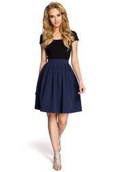 Granatowa elegancka spódnica midi w kontrafałdy moe237