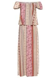 Sukienka z dekoltem carmen bonprix piaskowy beżowy - dymny jasnoróżowy - terakota wzorzysty