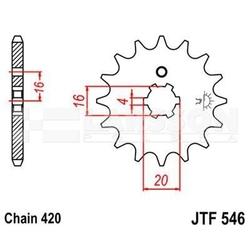 Zębatka przednia jt f546-13, 13z, rozmiar 420 2200957 kawasaki kx 65