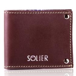 Skórzany cienki portfel wizytownik solier sw21 brązowy vintage - brązowy vintage