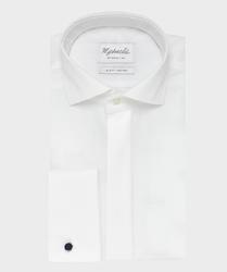 Elegancka biała koszula do muchy z krytą listwą i mankietami na spinki - michaelis 42