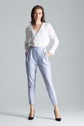 Szare eleganckie spodnie o lekko podwyższonym stanie