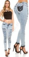 Spodnie jeansowe z dziurami i koronką 197