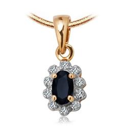 Złoty staviori wisiorek pr.585. z szafirem i 10 diamentów, szlif achtkant, masa 0,04 ct.