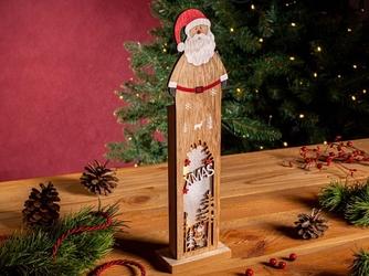 Figurka  ozdoba  dekoracja świąteczna drewniana led święta boże narodzenie altom design mikołaj 9,5 x 5 x 35,5 cm
