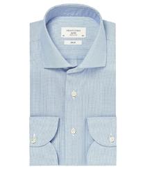 Błękitna koszula męska taliowana, slim fit travel shirt wrinkle free 44