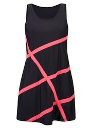 Sukienka plażowa z materiału kąpielowego bonprix czarno-różowy w graficzny wzór