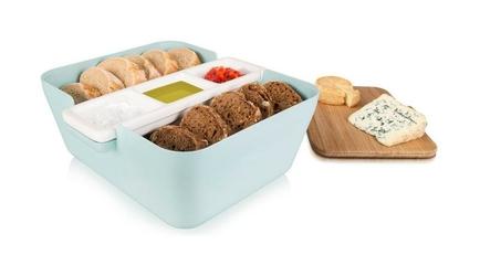 Pojemnik na pieczywo w zestawie do przekąsek Bread  Dip pastelowy błękit