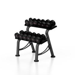 Zestaw hantli stalowych gumowanych 5-17,5 kg czarny połysk ze stojakiem s mp-hsgk2-s-k1 - marbo sport
