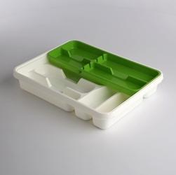 Wkład na sztućce przegródki do szuflady  organizer kuchenny tontarelli 39,5 cm, biało-zielony