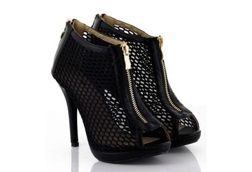 Czarne szpilki typu botki z zamkiem open toe  b-22