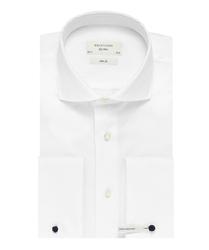 Extra długa biała koszula taliowana slim fit z mankietami na spinki 45