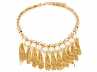 NASZYJNIK na łańcuszku żmijce PERŁY łańcuszki - pearls
