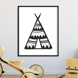Scandi tent - plakat dla dzieci , wymiary - 70cm x 100cm, kolor ramki - biały