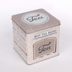 Puszka  pojemnik na herbatę, ciasteczka i pierniki altom design beż kwadratowy z klapką 19 cm