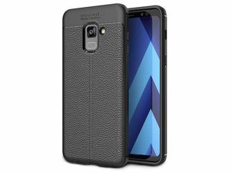 Etui pancerne Alogy leather case Galaxy A8 2018 czarne + szkło