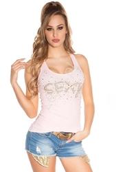 Top damski z napisem sexy z kryształków i jetów | bawełniana bokserka jasno różowa