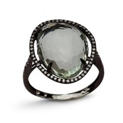 Staviori pierścionek. 1 prazolit, masa 8 ct.. 60 diamentów, szlif brylantowy, masa 0,21 ct., barwa h, czystość si1-i1. białe złoto 0,585. korona 20x15 mm. wysokość 5 mm.  złoto rodowane na czarno
