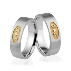 Obrączki srebrne pozłacane z inicjałami i sercem - wzór ag-271
