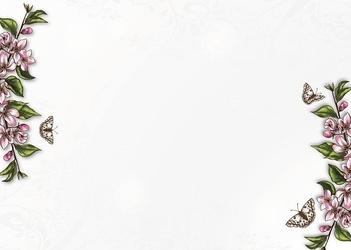 Tablica suchościeralna drukowana 084 kwiatki motyle