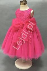 Sukienka dla dziewczynki, bogato zdobiona gipiurową koronką, fuksja
