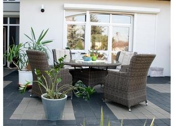 Zestaw mebli ogrodowych gabi stół + 4 fotele brązowy technorattan