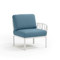 Fotel komodo końcowy biały niebieski - niebieski