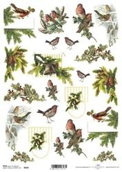 Papier ryżowy ITD A4 R604 Ptaki Święta
