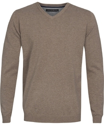 Beżowy sweter  pulower v-neck z bawełny  xxl