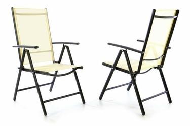 Krzesło kremowe 2 szt. , leżak ogrodowy składany