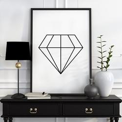 Diamond - plakat designerski , wymiary - 40cm x 50cm, ramka - czarna , wersja - na czarnym tle