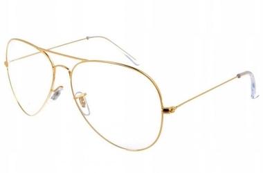 Okulary zerówki aviator złote oprawki korekcyjne 2388