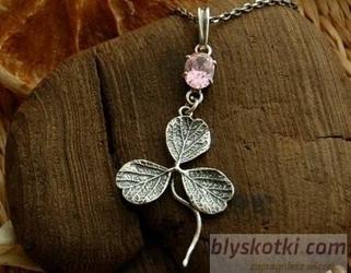 Koniczynka - srebrny wisiorek z różowym kryształem