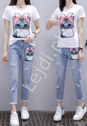 Zestaw 2- częściowy jeansy damskie z kotem oraz t-shirt z kotem