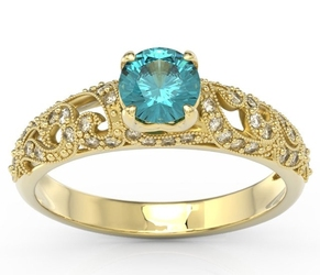 Pierścionek zaręczynowy z charakterem, wykonany z żółtego złota z zirconem i diamentami bp-50z