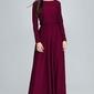 Bordowa sukienka maxi z długim rękawem