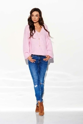 Luźny Jasnoróżowa Sweter z Dekoltem w Szpic