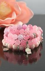 Różowa bransoletka z kamieni, hand made , różowe, pastelowe