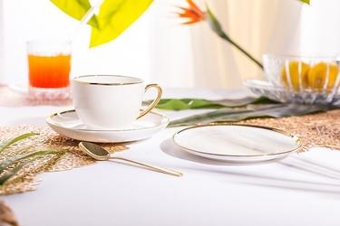 Filiżanka do kawy i herbaty porcelanowa ze spodkiem i talerzykiem deserowym altom design paradise