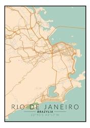 Rio de janeiro mapa kolorowa - plakat wymiar do wyboru: 59,4x84,1 cm