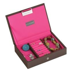 Pudełko na biżuterię z pokrywką mini Stackers czekoladowo-różowe