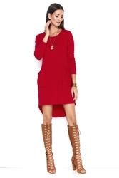 Czerwona asymetryczna krótka sukienka z kieszeniami