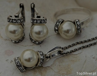 Cannes - srebrny komplet perła i kryształy