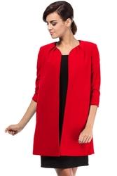 Czerwony długi elegancki żakiet