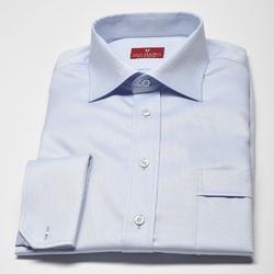 Elegancka błękitna koszula męska VAN THORN w skośna strukturę z mankietami na spinki - NORMAL FIT 40